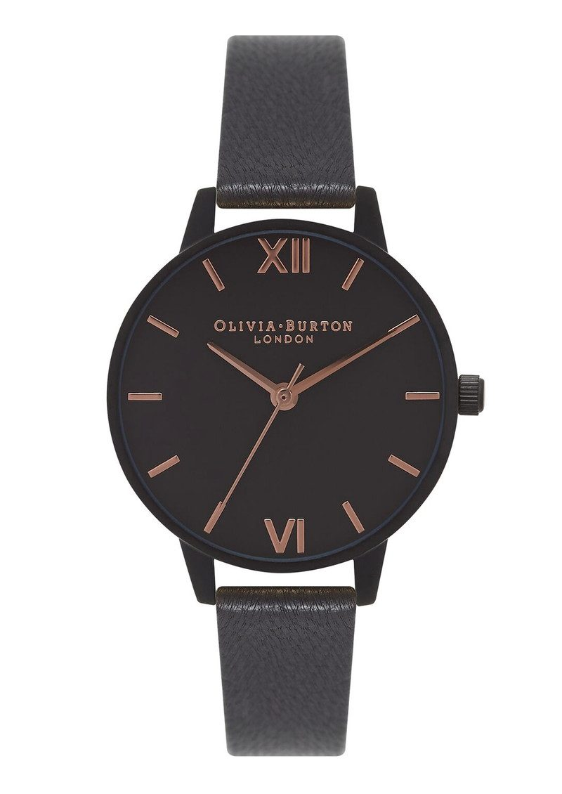 Olivia Burton After Dark Watch - Matte Black & Rose Gold main image