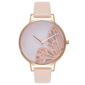 Embroidered Butterfly Watch - Nude Peach & Rose Gold