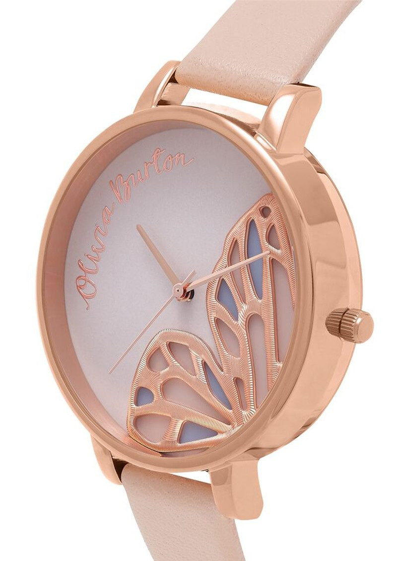 Olivia Burton Embroidered Butterfly Watch - Nude Peach & Rose Gold main image