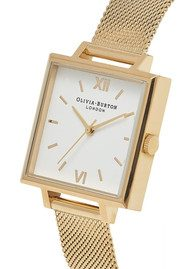 Olivia Burton Big Square Dial Watch - Gold Mesh