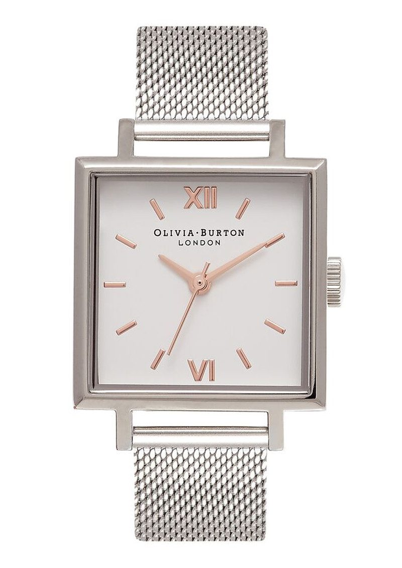 Olivia Burton Big Square Dial Watch - Silver Mesh main image
