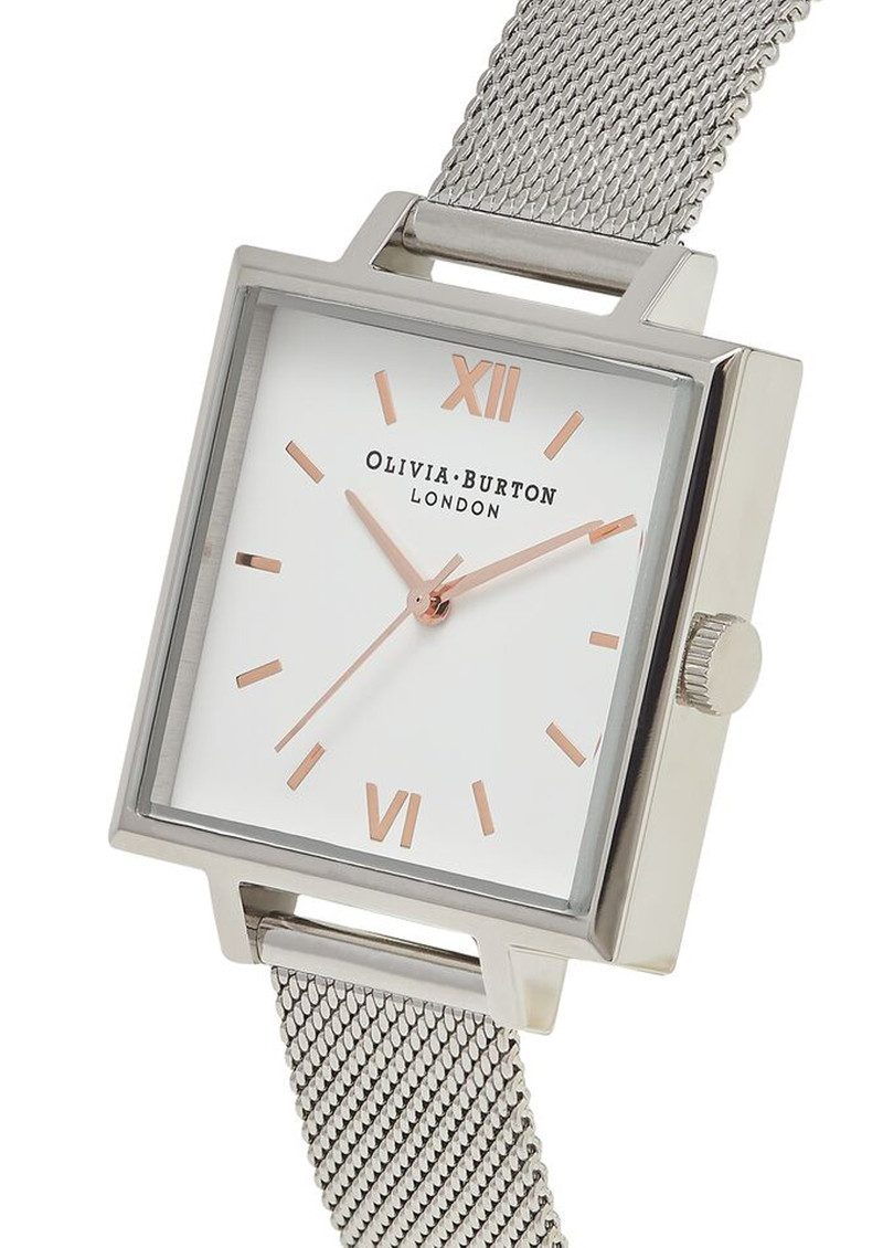Big Square Dial Watch - Silver Mesh main image