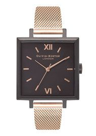 Olivia Burton Big Square Dial Watch - Matte Black & Rose Gold Mesh
