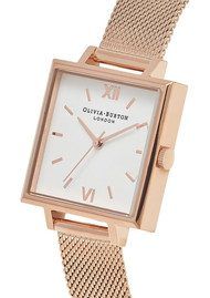 Olivia Burton Big Square Dial Watch - Rose Gold Mesh