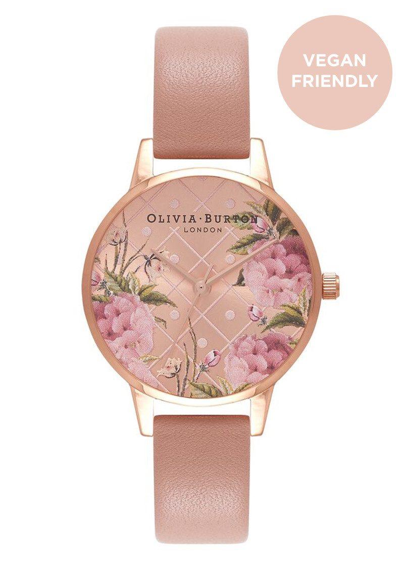 ece95b640ff6 Olivia Burton Vegan Friendly Floral Midi Dial Watch - Rose Sand & Rose Gold  main image ...