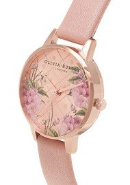 Olivia Burton Vegan Friendly Floral Midi Dial Watch - Rose Sand & Rose Gold