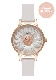 Olivia Burton Vegan Friendly Midi Moulded Daisy Watch - Grey & Rose Gold