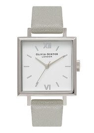Olivia Burton Big Square Dial Watch - Grey & Silver