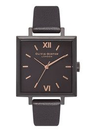 Olivia Burton Big Square Dial Watch - Matte Black & Black