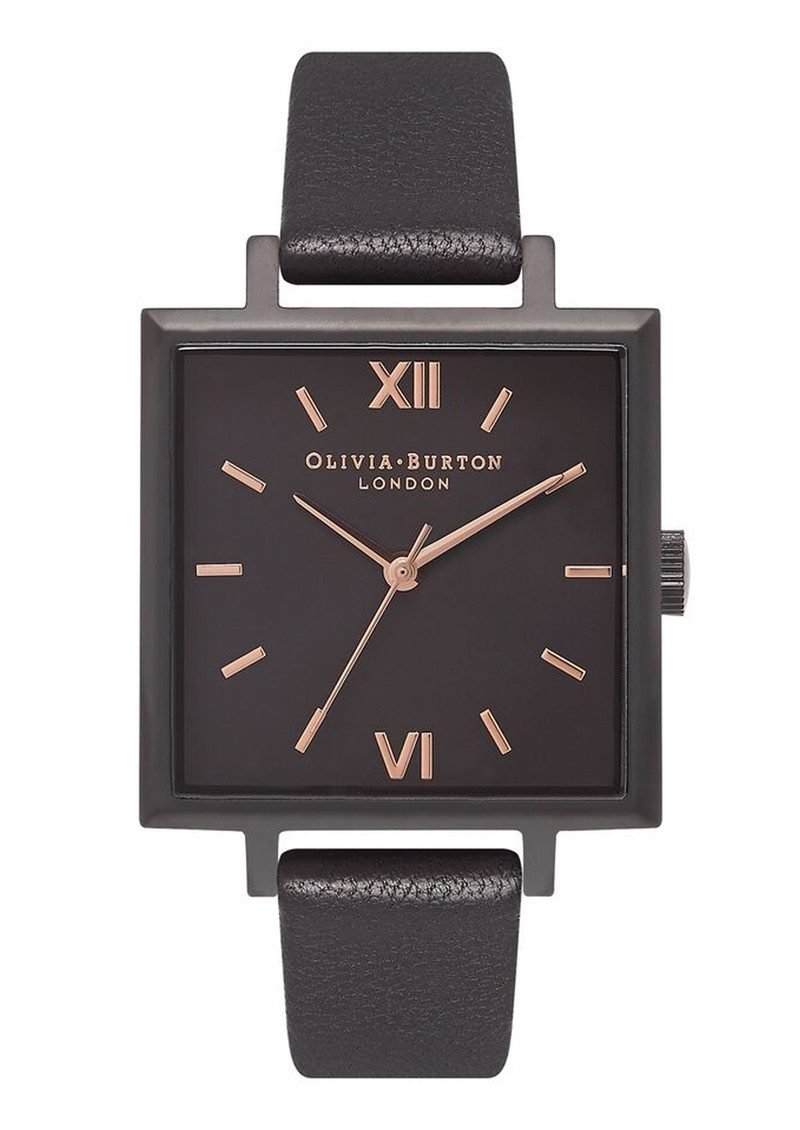 Olivia Burton Big Square Dial Watch - Matte Black & Black main image