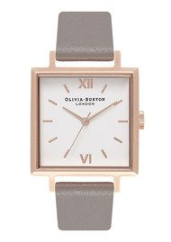 Olivia Burton Big Square Dial Watch  - London Grey & Rose Gold