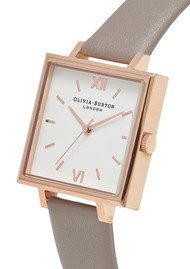 Olivia Burton Big Square Dial Watch  - London Grey & Rose Gold