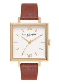 Olivia Burton Big Square Dial Watch - Tan & Gold