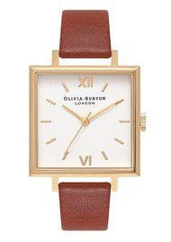 Olivia Burton Big Square Dial Watch - Tan & Gold