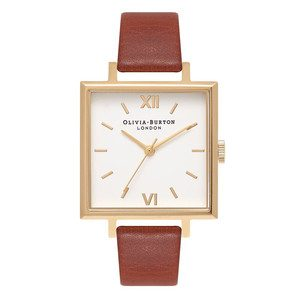 Big Square Dial Watch - Tan & Gold