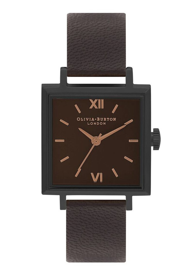 Olivia Burton Midi Square Dial Watch - Matte Black & Black main image