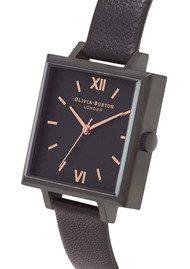 Olivia Burton Midi Square Dial Watch - Matte Black & Black