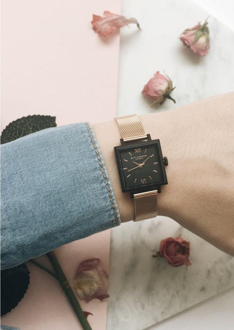 Olivia Burton Midi Square Dial Watch - Matte Black & Rose Gold Mesh main image