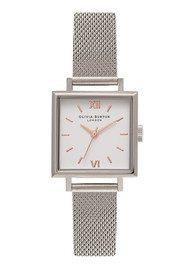 Olivia Burton Midi Square Dial Watch - Silver Mesh
