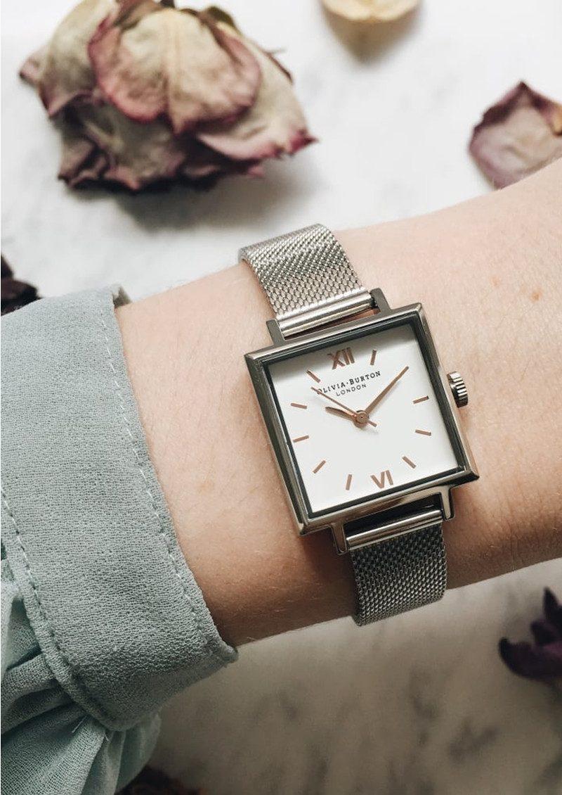 Olivia Burton Midi Square Dial Watch Silver Mesh