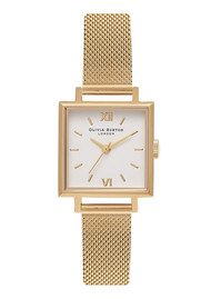 Olivia Burton Midi Square Dial Watch - Gold Mesh