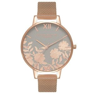 Lace Detail Mesh Watch - Grey & Rose Gold