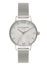 Olivia Burton Lace Detail Mesh Watch - Silver