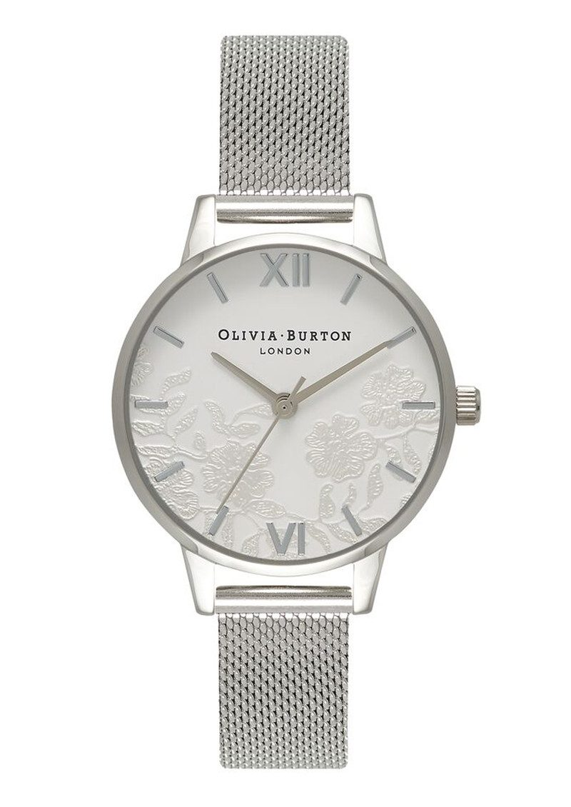 Lace Detail Mesh Watch - Silver main image