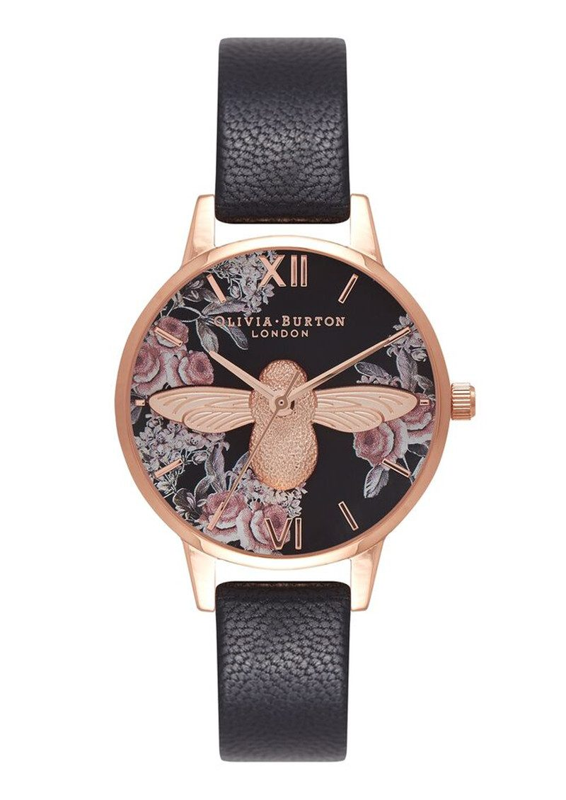 Olivia Burton Botanical 3D Bee Watch - Black & Rose Gold main image