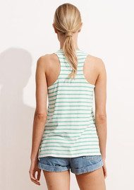 SUNDRY Striped Palm Tree Tank Top - Green & White