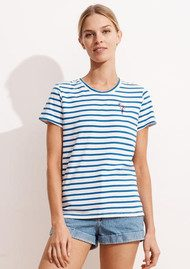 SUNDRY Embroidered Flamingo Stripe Tee - Sky Blue & White