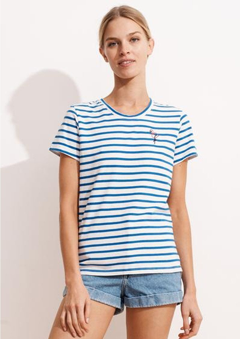 SUNDRY Embroidered Flamingo Stripe Tee - Sky Blue & White main image