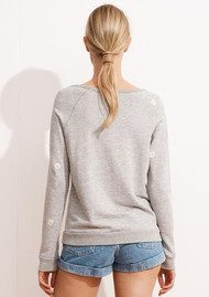 SUNDRY Daisy Patch Raglan Sweatshirt - Heather Grey