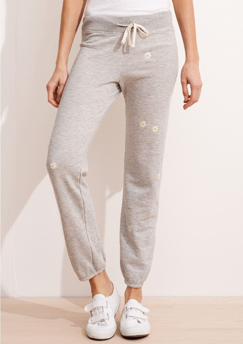 SUNDRY Daisy Patch Sweatpants - Heather Grey main image