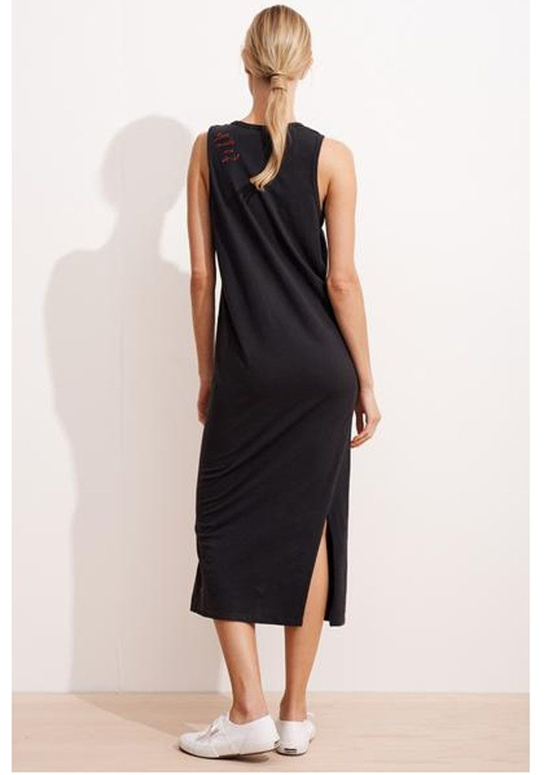 SUNDRY Embroidered Tank Dress - Summer Black main image