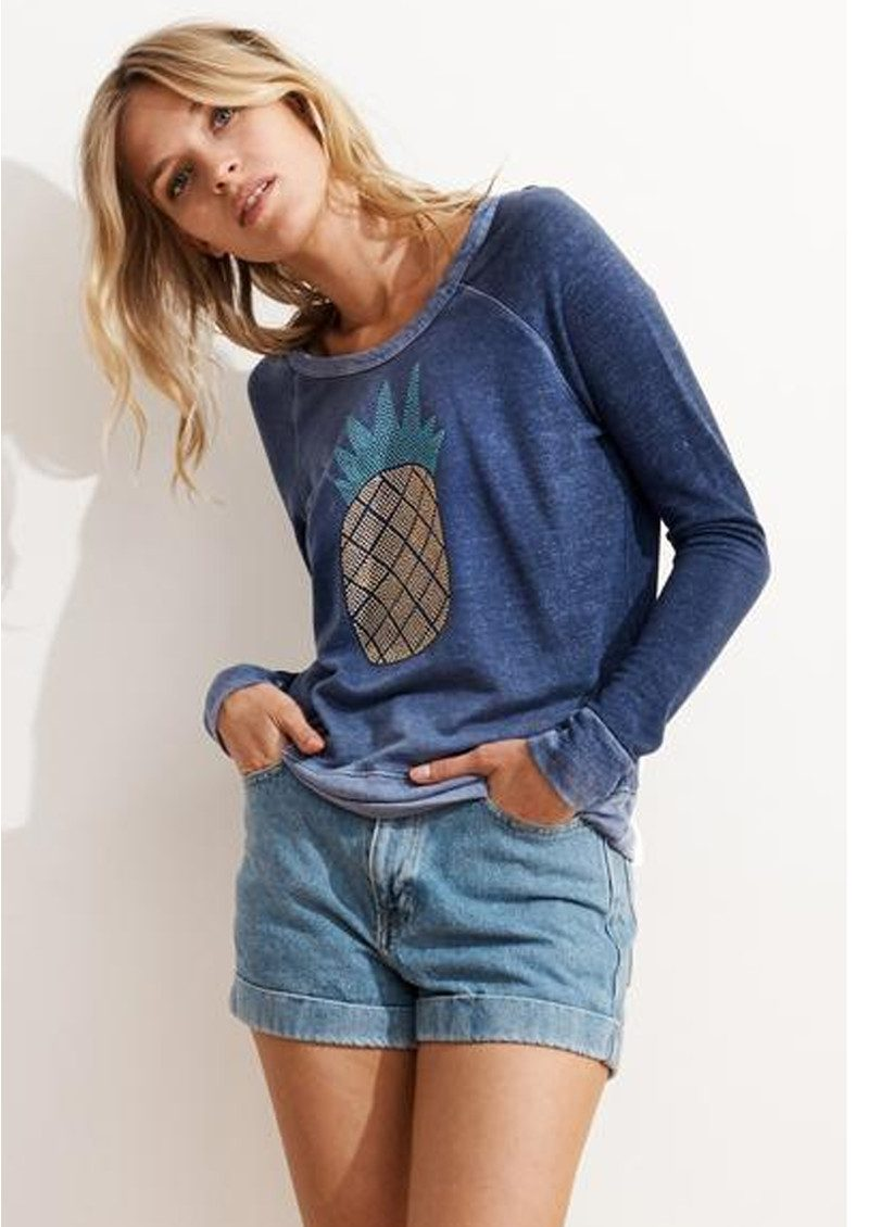 SUNDRY Studded Pineapple Sweater - Vintage Ink main image
