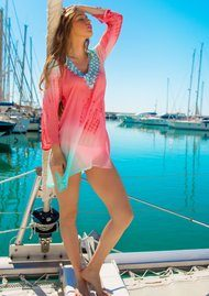 LINDSEY BROWN Palma Silk Kaftan - Ice Blue & Pink Coral