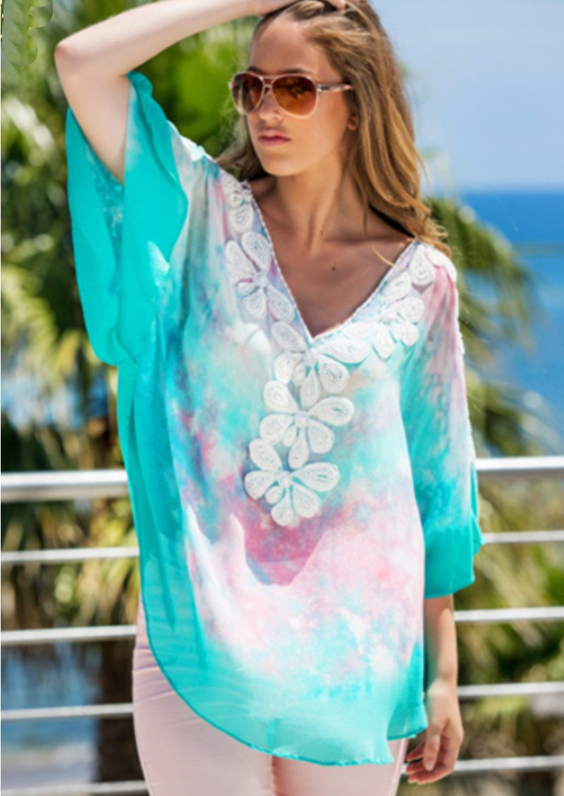 LINDSEY BROWN Rumba Beaded Top - Pink Ice & Aqua White main image