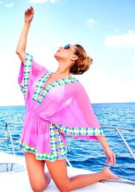 LINDSEY BROWN Manhattan Top - Pink, White, Turquoise & Lime
