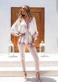 LINDSEY BROWN Manhattan Top - White, Mauve, Pink & Blonde