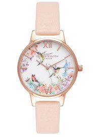 Olivia Burton Painterly Prints Hummingbird Midi Watch - Nude Peach & Rose Gold