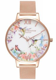 Olivia Burton Painterly Prints Hummingbird Mesh Watch - Rose Gold