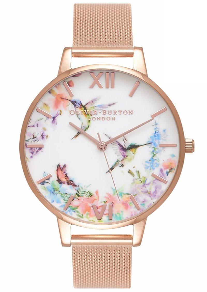 Olivia Burton Painterly Prints Hummingbird Mesh Watch - Rose Gold main image