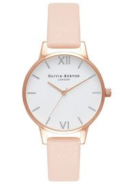 Olivia Burton Midi Dial White Dial Watch - Nude Peach & Rose Gold & Silver