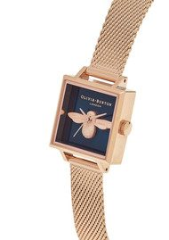 Olivia Burton Square Dial 3D Bee Midi Mesh Watch - Rose Gold