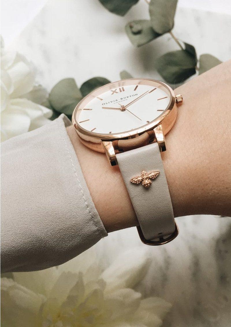 Olivia Burton 3D Bee Embellished Strap Watch - Blush & Rose Gold main image