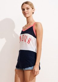 SUNDRY Amour Linen Tank - Ink, White & Peony