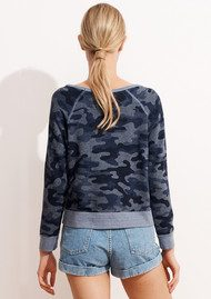 SUNDRY Camo Cropped Pullover - Heather Denim