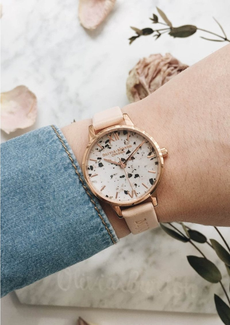 Olivia Burton Vintage Marble Midi Watch - Nude Peach & Rose Gold main image
