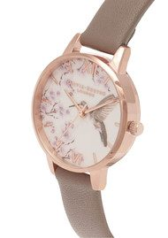 Olivia Burton Painterly Prints Hummingbird Midi Watch - London Grey & Rose Gold